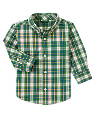 Toddler Boys Ivy Green Plaid Tartan Plaid Shirt by Gymboree