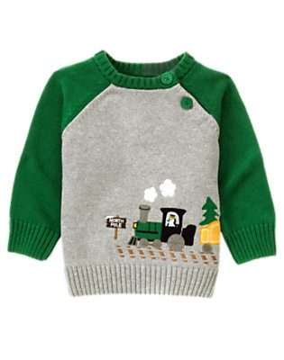 Heather Grey Train Sweater by Gymboree