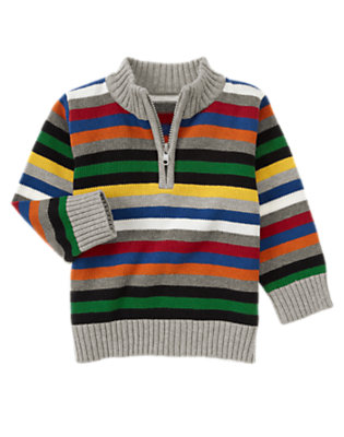 Heather Grey Stripe Stripe Half-Zip Sweater by Gymboree