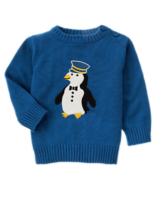 Toddler Boys Royal Blue Penguin Conductor Sweater by Gymboree
