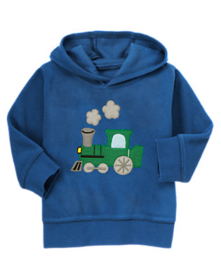 Royal Blue Train Microfleece Hoodie by Gymboree