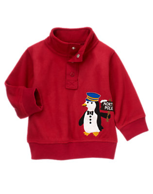 Caboose Red Penguin Half-Snap Microfleece Pullover by Gymboree