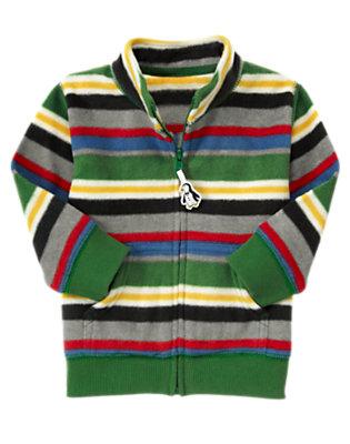 Toddler Boys Ivy Green Stripe Microfleece Zip Cardigan by Gymboree