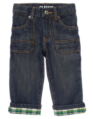 Toddler Boys Denim Plaid Cuffed Pocket Jean by Gymboree