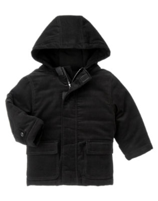 Black Hooded Corduroy Jacket by Gymboree