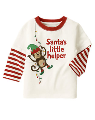 Ivory Santa's Little Helper Double Sleeve Tee by Gymboree