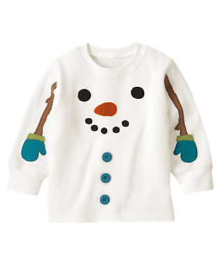 Ivory Snowman Thermal Tee by Gymboree