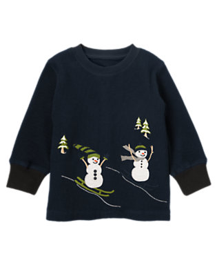 Navy Skiing Snowmen Thermal Tee by Gymboree