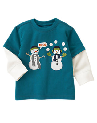 Toddler Boys Teal Blue Cool Snowmen Double Sleeve Tee by Gymboree