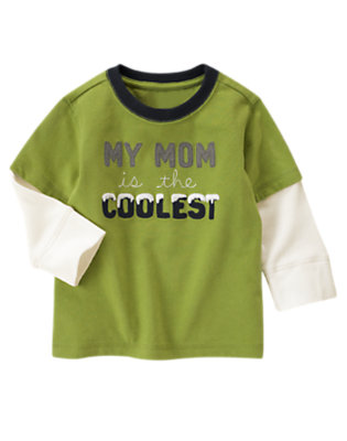 Moss Green My Mom Is The Coolest Double Sleeve Tee by Gymboree