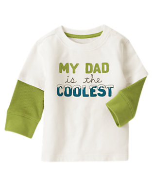 Ivory My Dad Is The Coolest Double Sleeve Tee by Gymboree