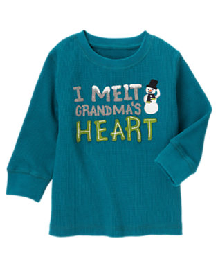 Teal Blue I Melt Grandma's Heart Thermal Tee by Gymboree