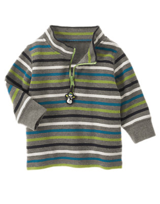 Misty Heather Stripe Snowman Stripe Half Zip Pullover by Gymboree