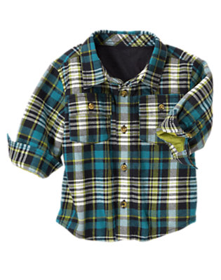 Toddler Boys Teal Blue Plaid Plaid Flannel Shacket by Gymboree