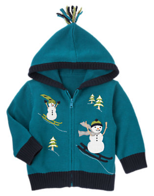 Toddler Boys Teal Blue Skiing Snowmen Hooded Zip Cardigan by Gymboree