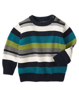 Toddler Boys Heather Grey Stripe Stripe Pullover Sweater by Gymboree