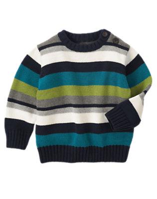 Toddler Boys Heather Grey Stripe Stripe Pullover Sweater by Gymboree