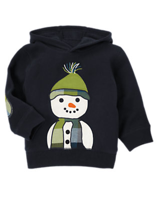 Toddler Boys Navy Snowman Hoodie by Gymboree