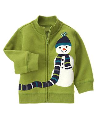 Toddler Boys Moss Green Snowman Fleece Zip Cardigan by Gymboree
