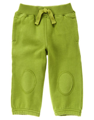 Toddler Boys Moss Green Knee Patch Fleece Active Pant by Gymboree
