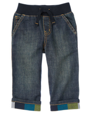 Toddler Boys Denim Flannel Cuffed Pull-On Jean by Gymboree
