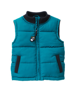Toddler Boys Teal Blue Microfleece Lined Puffer Vest by Gymboree