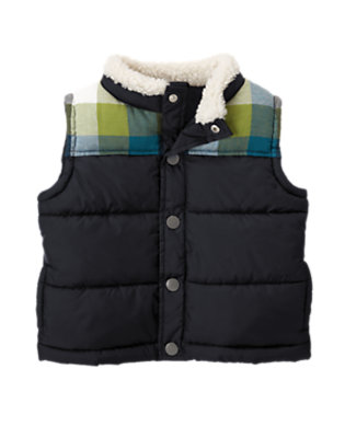Toddler Boys Navy Pieced Plaid Flannel Puffer Vest by Gymboree