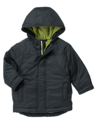 Toddler Boys Navy Hooded Puffer Jacket by Gymboree