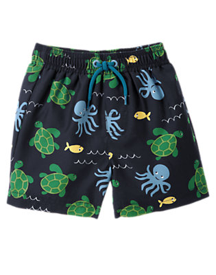 Toddler Boys Navy Sea Creatures Swim Trunk by Gymboree
