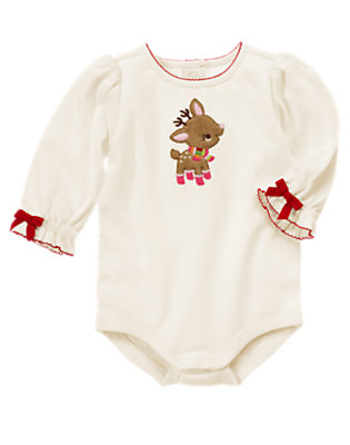 Winter Ivory Girl Reindeer Bodysuit by Gymboree