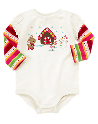 Baby Winter Ivory Reindeer Snowman Bodysuit by Gymboree