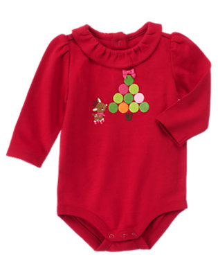 Baby Reindeer Red Reindeer Tree Bodysuit by Gymboree