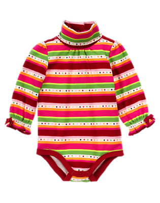 Reindeer Red Stripe Dot Stripe Turtleneck Bodysuit by Gymboree