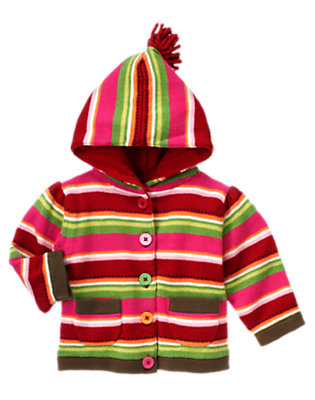 Reindeer Red Stripe Lined Stripe Sweater Hoodie by Gymboree