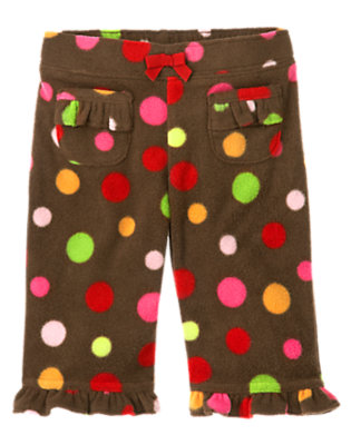 Reindeer Brown Dot Dot Microfleece Pant by Gymboree