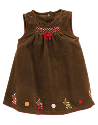Baby Reindeer Brown Smocked Reindeer Jumper by Gymboree