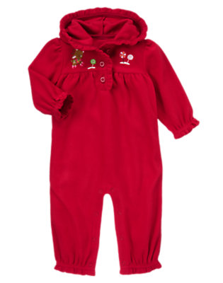 Baby Reindeer Red Reindeer Microfleece Hooded One-Piece by Gymboree