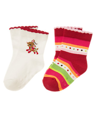 Baby Ivory/Reindeer Red Stripe Reindeer Stripe Sock Two-Pack by Gymboree