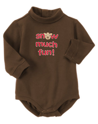 Reindeer Brown Snow Much Fun Bodysuit by Gymboree