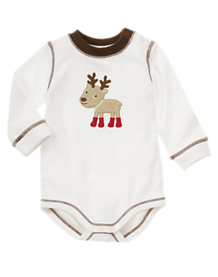 Ivory Boy Reindeer Bodysuit by Gymboree