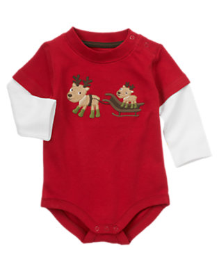 Baby Reindeer Red Reindeer Double Sleeve Bodysuit by Gymboree