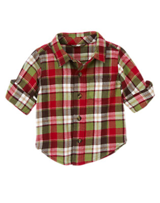 Baby Reindeer Red Plaid Plaid Flannel Shirt by Gymboree