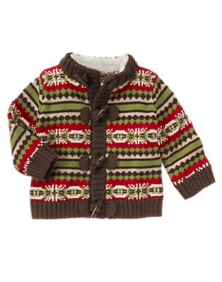 Reindeer Red Fair Isle Fair Isle Toggle Cardigan by Gymboree