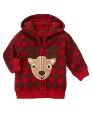 Baby Reindeer Red Check Reindeer Checked Microfleece Hoodie by Gymboree