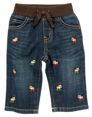 Denim Reindeer Embroidered Denim Pant by Gymboree