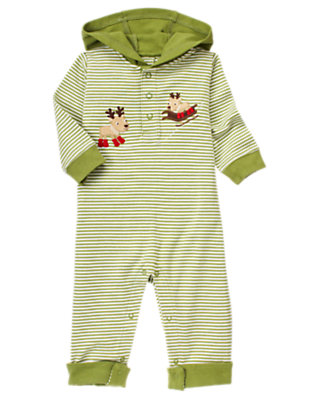 Baby Winter Green Stripe Reindeer Stripe Hooded One-Piece by Gymboree