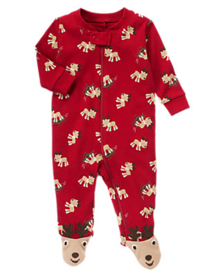 Reindeer Red Reindeer Footed One-Piece by Gymboree