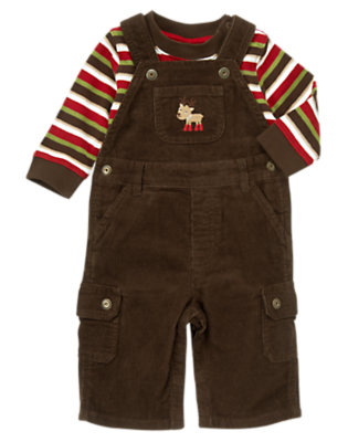 Reindeer Brown Reindeer Overall Two-Piece Set by Gymboree