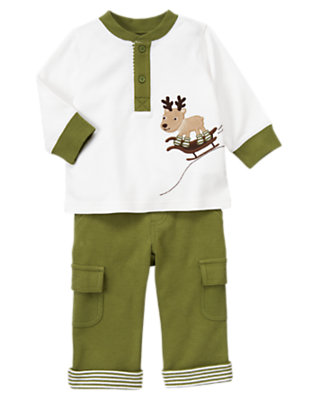 Winter Green Reindeer Two-Piece Set by Gymboree