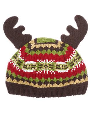 Baby Reindeer Brown Fair Isle Reindeer Fair Isle Sweater Hat by Gymboree